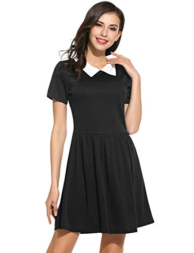 POGT Women's Short Sleeve peter pan Collar Dress (M, Black) -