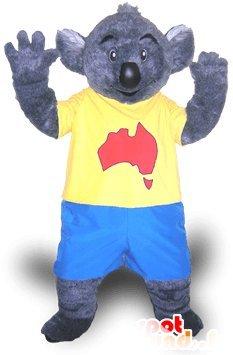 mascota SpotSound de koala gris en el vestido azul y amarillo ...