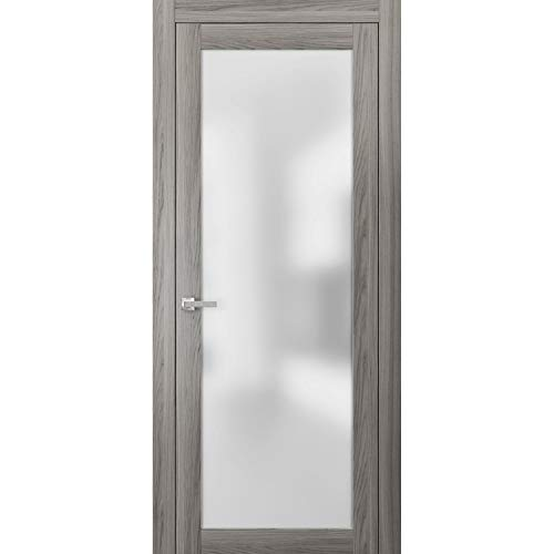 Lite Frosted Glass Door 36 x 80 | Planum 2102 Ginger Ash | Frames Trims Satin Nickel Hardware | Bedroom Bathroom Solid Core Wooden Panel Pre-Hung