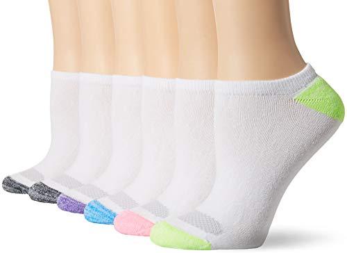 Hanes Women's No Show Socks, White Color Heel/Toe, 5-9