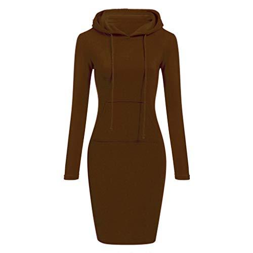 (♡QueenBB♡ Pullover Pocket Knee Length Slim Hoodie Dresses Casual Sweatshirt Dress Women)