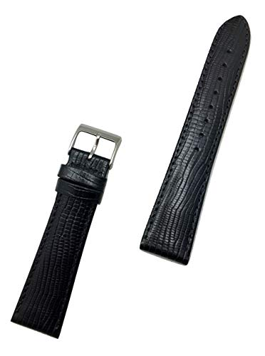22mm Black Genuine Leather Watch Band | Tail Lizard Grain, Lightly Padded Replacement Wrist Strap That Brings New Life to Any Watch (Mens Length)