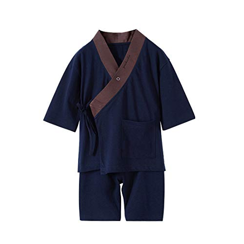 Japanese Pajamas Kids Boys Kimono Robe and Pants 2 pcs Sleepwear Set (2-3 Years, Navy)