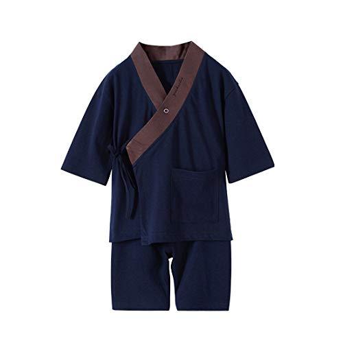 Japanese Pajamas Kids Boys Kimono Robe and Pants 2 pcs Sleepwear Set (5-6 Years, Navy)