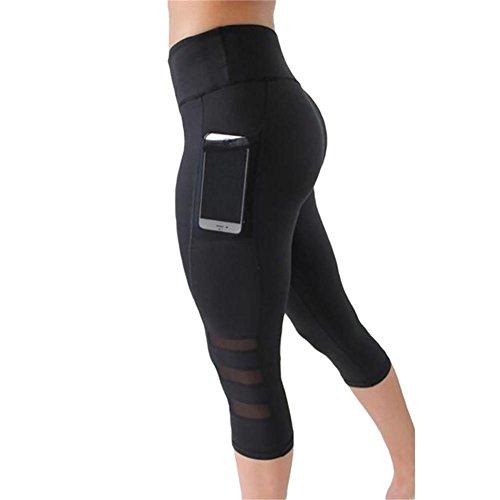 UESEU Women's Mesh Stretchy Workout Sportys Yoga Cropped Leggings L (Sporty Capris Knit)