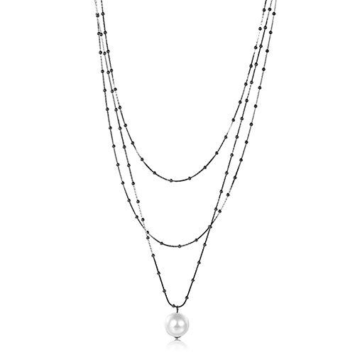 Women Three Chain Cable Necklace Pearl Gun Plated Colour Gift for Lovers