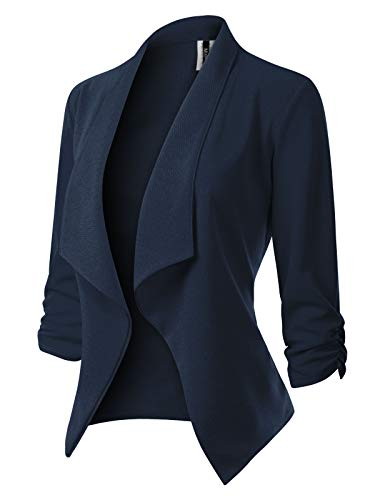 MixMatchy Women's [Made in USA] Classic 3/4 Gathered Sleeve Open Front Blazer Jacket (S-3XL) Navy Blue L ()