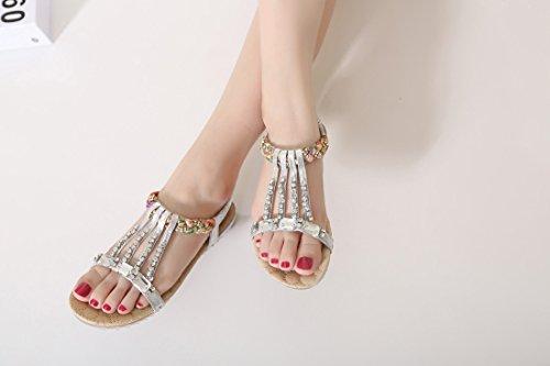 Bohemian Chaussures Dames Plates Les Ruiren D'été Argent Femmes pour Beeded Sandales qI7zzxBOw5
