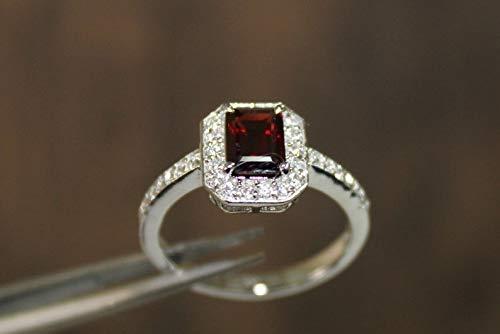 Beautiful Silver Garnet Solitaire Ring 5x7 mm Octagon Garnet Band Garnet Engagement Ring Garnet Wedding Ring