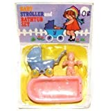 vintage baby tub - Vintage Baby Stroller and Bathtub Set Plastic Toys on Card Hong Kong