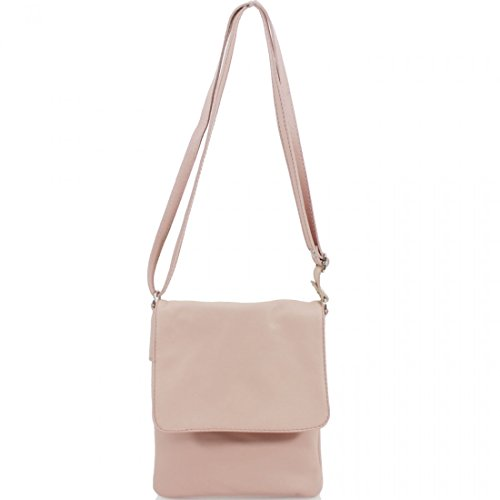 Pale Over Body Pele Pink Vera Bags Phone Ladies Cross Italian Women Soft Flap Key Leather Pouch Small Holder T0WaHWz