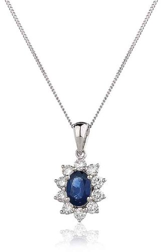 0.90CT Certified G/VS2 Blue Sapphire Oval Shape Centre and Round Brilliant Cut Claw Set Diamond Pendant in 18K White Gold