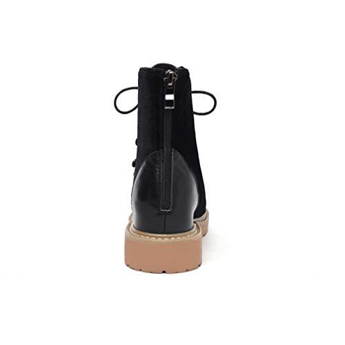 Outdoor Platform Autunno Inverno Passeggio Martin Scarpe Stivali Fashion Da Heel Yan Stivaletti Boots Lace Casual Zipper Block Up Snow Shoes Nero amp; Donna gwxOwznqt