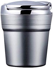 CWC カー灰皿、蓋付きの近代的なデスクトップ灰皿、屋内または屋外での使用のための灰皿、喫煙者の灰皿、シルバー (Color : Silver)