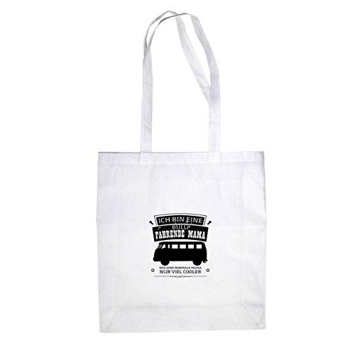 Ich bin eine Bulli fahrende Mama - Stofftasche / Beutel Weiß