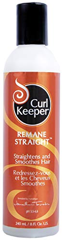 CURLY HAIR SOLUTIONS Curl Keeper ReMane Straight - Non-Chemical Styling Hair Relaxer To Assist You In Straightening and Smoothing Your Curly Hair (8 Ounce / 240 Milliliter) (Solution Straight)