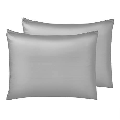 IUNIQEE Satin Pillowcase, Set of 2 Super Soft Luxury Anti Wrinkle Silky Pillow Cases with Hidden Zipper for Hair and Skin (Gray, Queen 20