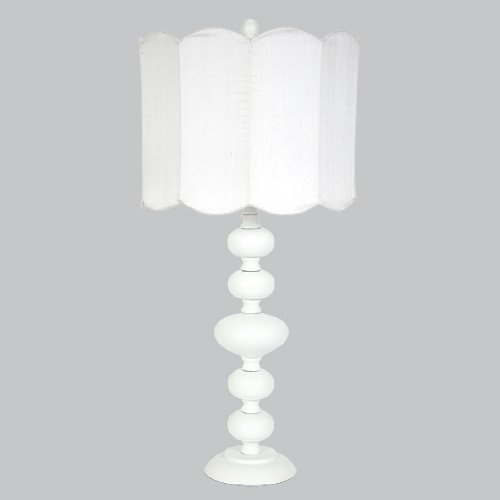 Jubilee Collection L71412W-4802 Bola Lamp with Double Scallop Drum Shade, White