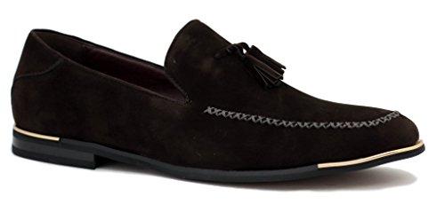 hombre nuevo Zapatos Moda Ante Elegante Vestido Sin Cierres Borla Diseñador Mocasines Informales Size UK Café