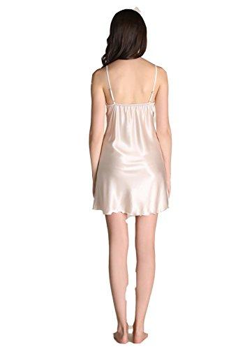 Raso Scollo Beige Corta sexy Pigiama pigiami in Donna Elegante donna seta Vestaglia V q8wwT7E