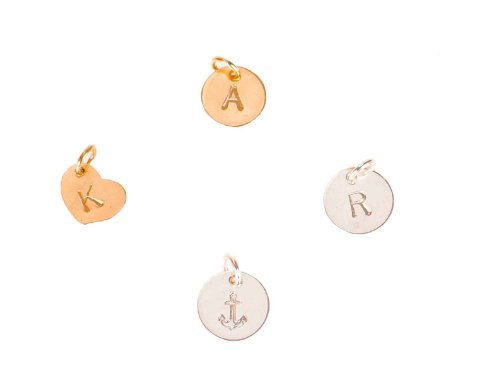 Round Gold Heart - EFYTAL Extra Initial or Symbol - Tiny Sterling Silver or Gold Filled Charm, Add-On to Any Necklace