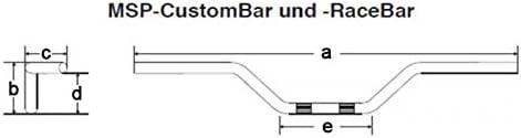 chrom mit Kerbe mit ABE 1 Zoll Fehling Motorrad Lenker CustomBar 850 mm