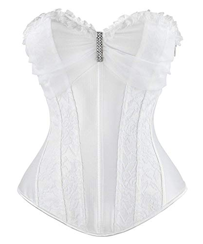 Ancoset Women's Satin Lace Organza Ruffles Pleated Veil Decorated Floral Boned Wedding Bridal Overbust Corset Top White 2XL/Fit Waist 30.5