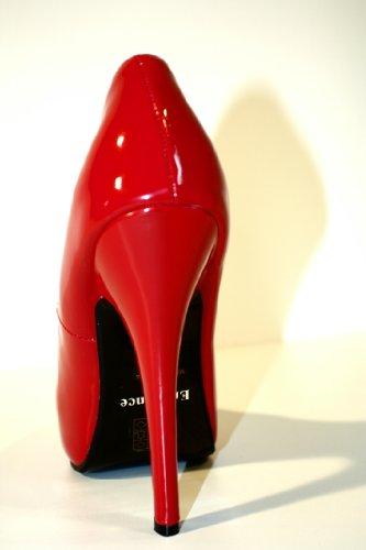 Erogance Lack Plateau High Heels - Zapatos de vestir de charol para mujer rojo - rojo