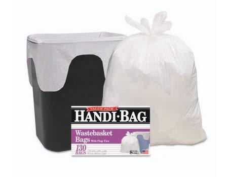 Handi-Bag Super Value Pack, 8gal, .55mil, 22 x 24, White, 130/Box, Sold as 2 Box, 130 Each per Box
