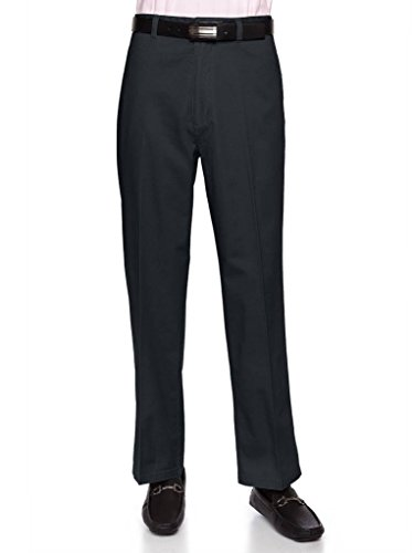 AKA Men's Wrinkle Free Cotton Twill - Traditional Fit Slacks Flat-Front Work Pants Charcoal 42 (Cotton Pleated Twill Pants Charcoal)