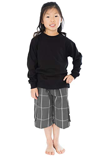 Shaka Wear Kids Cargo Shorts - Relaxed Fit Utility Plaid with Drawstring Elastic Waist Boys Girls Pull-on Pants Outdoor