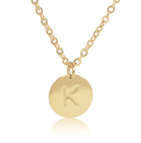 18k gold plated round disc engraved initial pendant 18 adjustable necklace with personalized alphabet letter k
