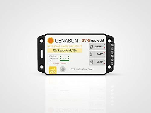 Genasun GV-5-Pb-12V, 5 Amp 12 Volt MPPT Solar Charge Controller for Lead Acid Batteries