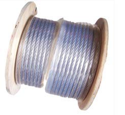 1/4'' Coated to 5/16'' Diameter, 7x19 Construction, Clear Vinyl Coated Cable (250 ft Reel)