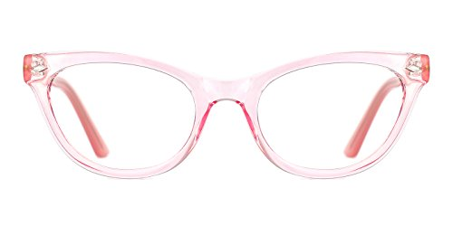 TIJN Super Inspired Mod Fashion Cat Eye Glasses Translucent Eyewear Frame (Pink, 51-20-145)