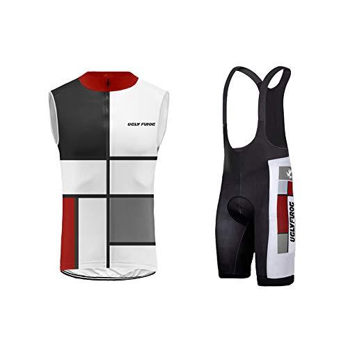 Uglyfrog Men's Cycling Jersey Vest Set Sleeveless Full Zip Moisture Wicking Breathable Quick-Dry,Bike Shirt + 3D Padded Shorts UGUS19DJ02
