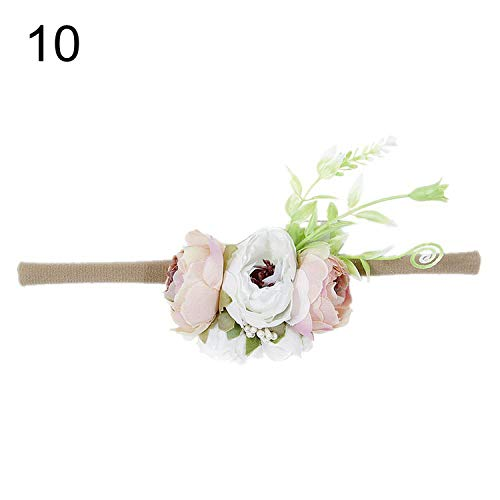 Summer Flower Crown Headband Kids Soft Nylon Elastic Hairbands Bohemian Wreath Head Bands Baby Girl Hair Accessories,10