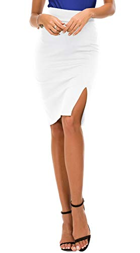 - EXCHIC Women's Pencil Skirt Bodycon Business Skirt Side Slit Hem (L, White)