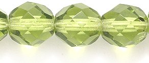 Preciosa Czech Fire 8mm Polished Glass Bead, Faceted Round, Transparent Olive, (Olive Round Beads)
