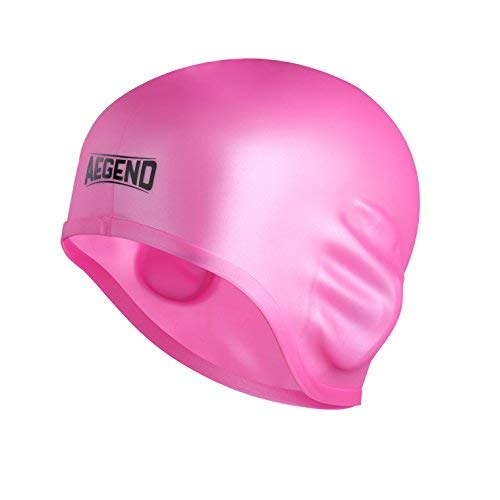 aegend Solid Silicone Swim Cap, Comfortable Fit Swim Caps Swimming Cap for Men Women Adults Youths, 3D Ergonomic Design, Pink