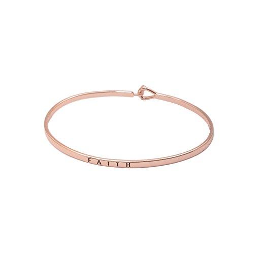 - SpinningDaisy Personal Mantra Message Cuff Hook Bracelet (Faith-Rose Gold)