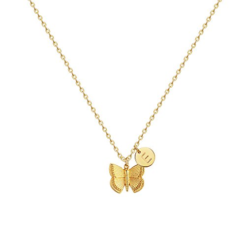 (Initial Butterfly Pendant Necklace,Women 14k Gold Plated Handmade Dainty Butterfly Necklace with Initial Round Disk Pendant E)