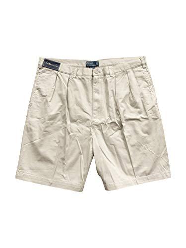 Polo Shorts Chino (Polo Ralph Lauren Men's Tyler Chino Pleated Shorts Bermuda (Big 42, Stone))