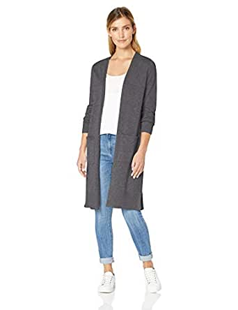 Amazon Essentials Women's Longer Length Cardigan, Charcoal Heather, X-Small