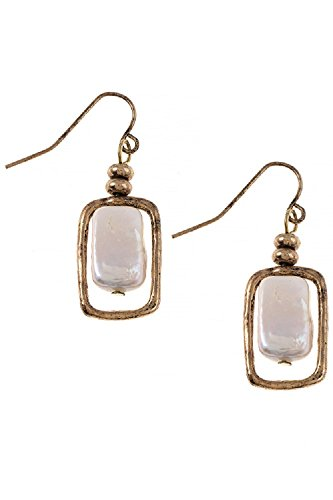 Square Fresh Water Pearl Freedom Fashion 316L Surgical Steel Earrings (Gold) (Lonesome Cowboy Costume)