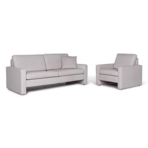 Cor Designer Leather Sofa Set Gray 1x Two-Seater 1x Armchair