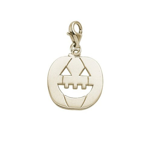 14K Yellow Gold Jack O Lantern Charm With Lobster Claw Clasp, Charms for Bracelets and Necklaces ()