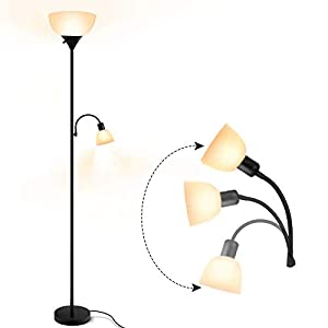 Floor Lamp – Modern Standing Lamp, 9W+4W Energy Saving LED Floor Lamp, with Adjustable Reading Light, 3000K Warm White, Torchiere Floor Lamps for Bedroom, Living Room, Office, Working, Reading