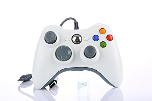 Game Controller Gamepad USB Wired Shoulders Buttons Improved Ergonomic Design Joypad Gamepad Controller For Microsoft Xbox & Slim 360 PC Windows 7(White) (360 Glowing Controller Xbox)