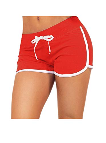 (Little Beauty Athletic Elastic Waist Yoga Running Workout Dophin Shorts Red S)